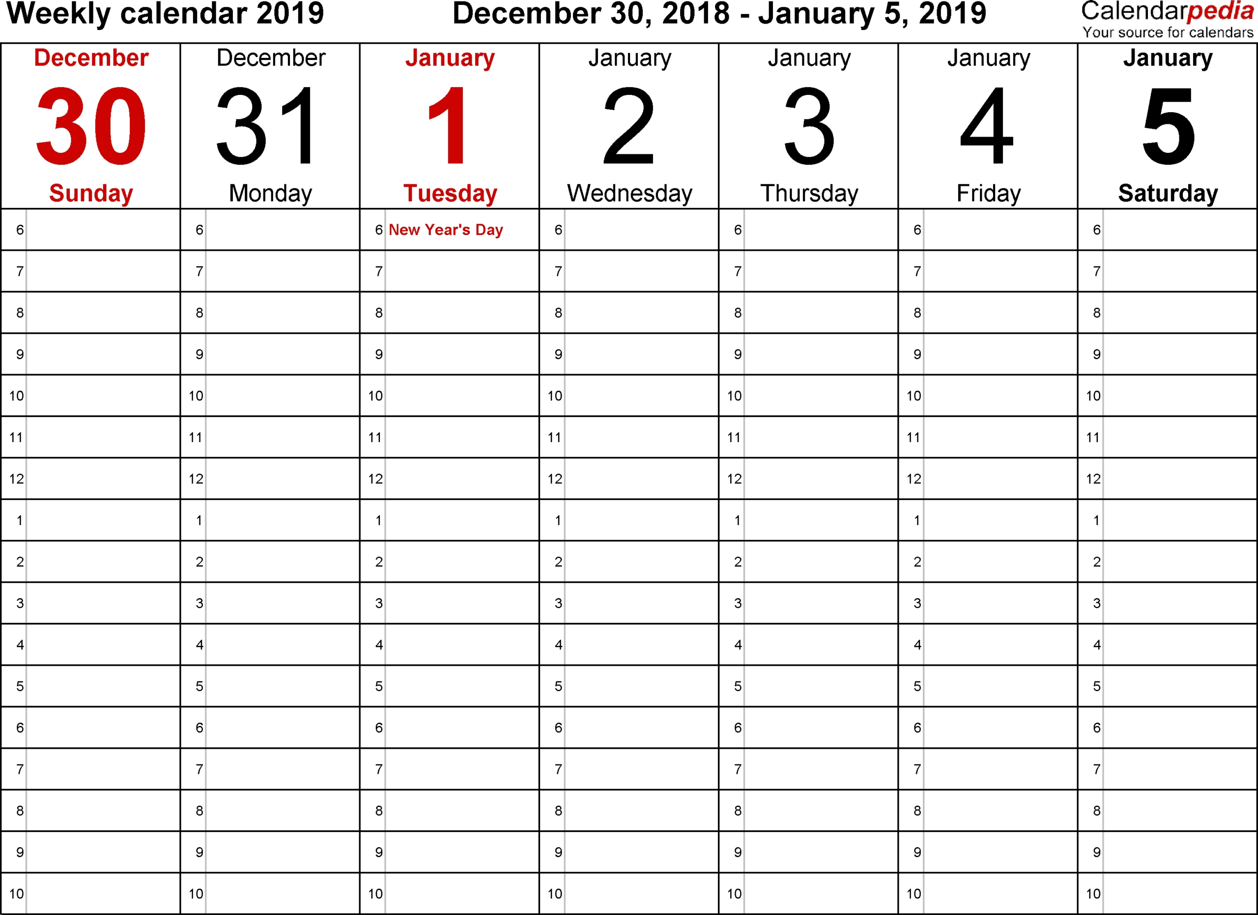Blank Calendars To Print With Time Slots - Calendar