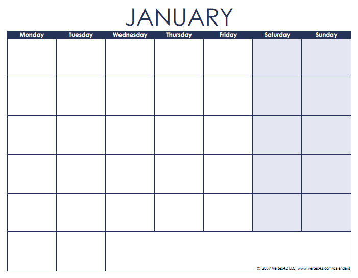 Blank Calendars With Month Names And Weekdays - Monday