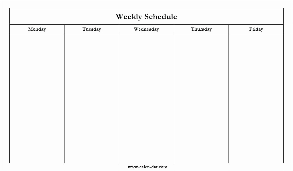 Blank Calender Monday Through Friday | Ten Free Printable