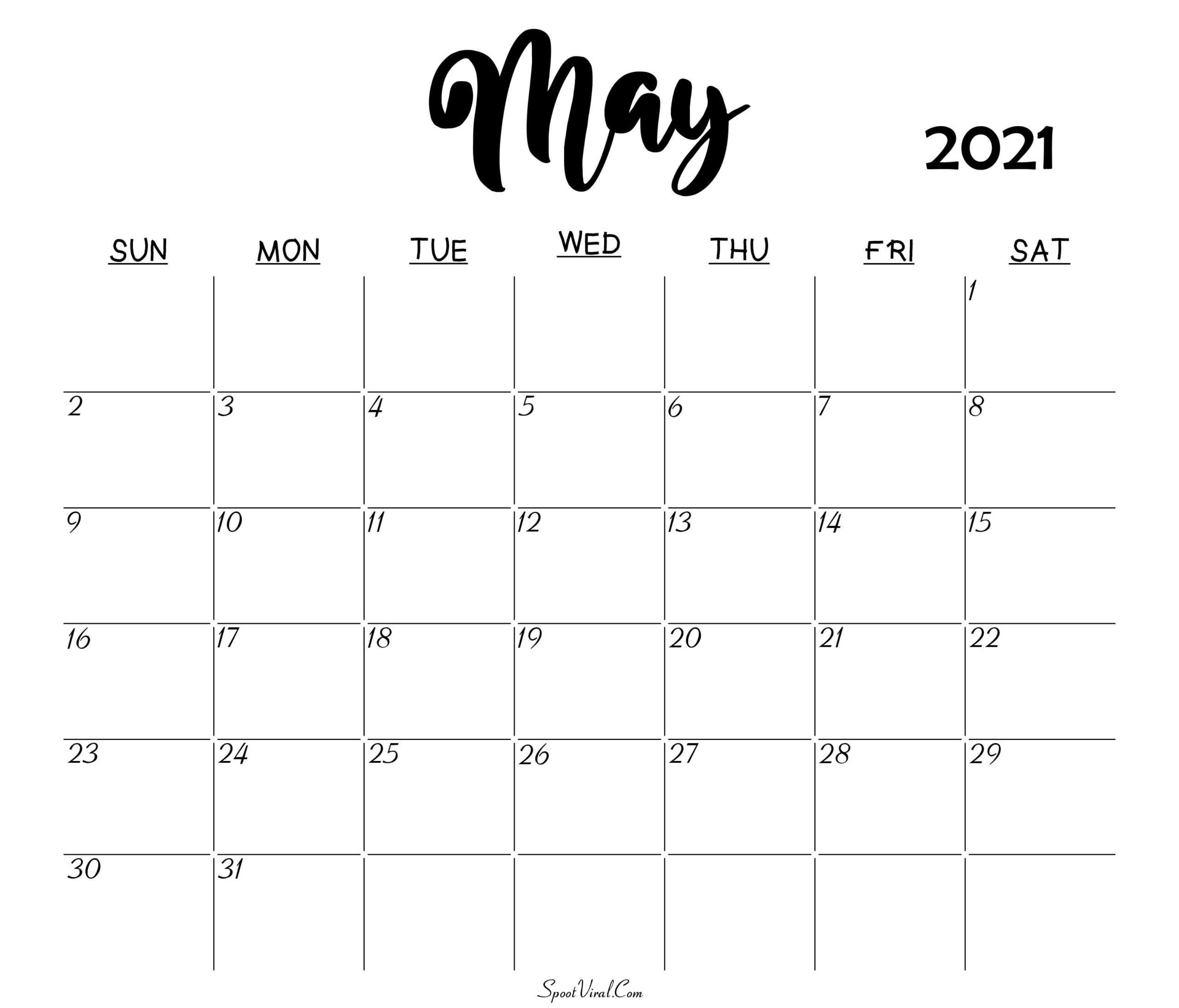 Blank May 2021 Calendar Printable - Latest Calendar