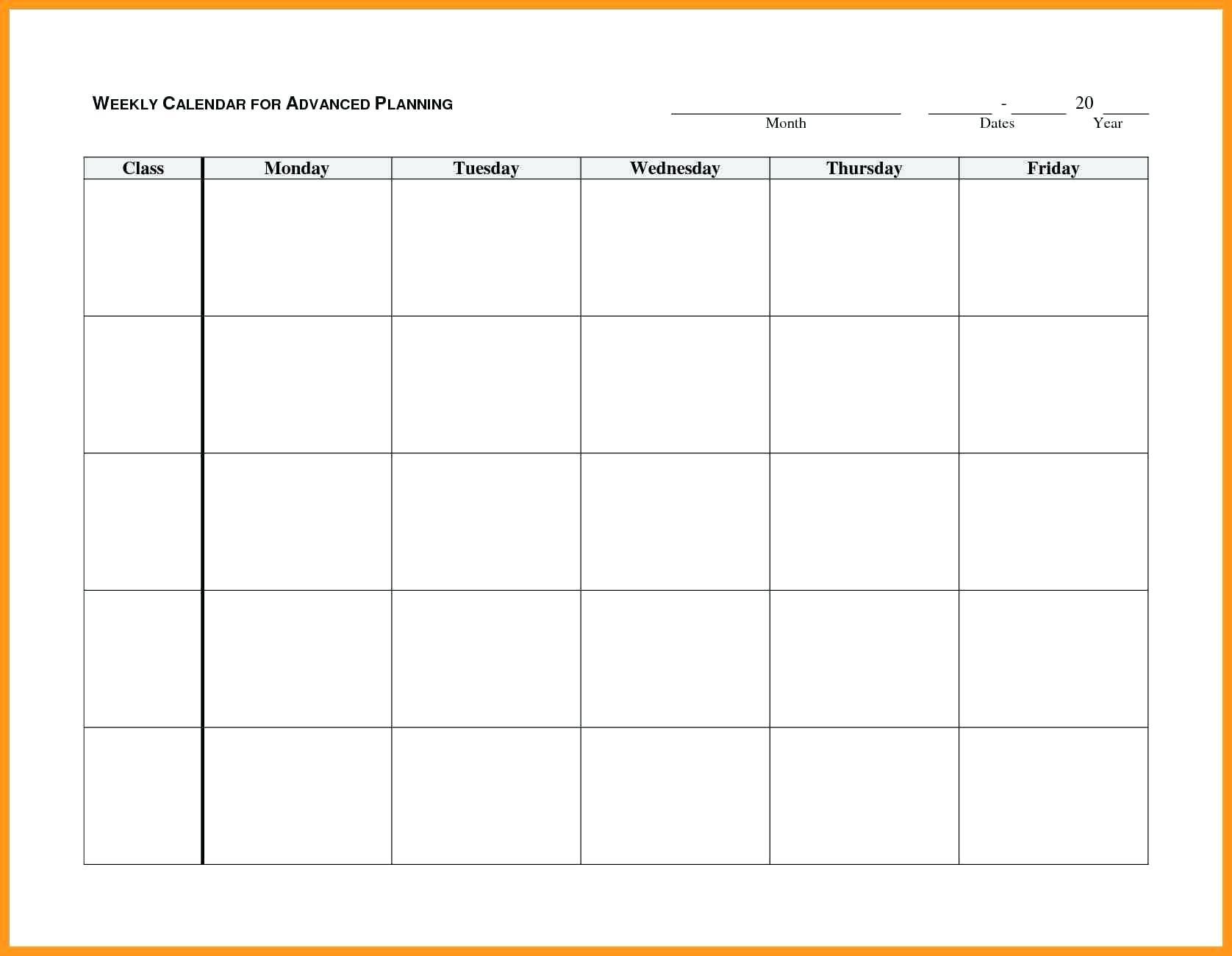 Blank Monday Through Friday Calendar   Example Calendar