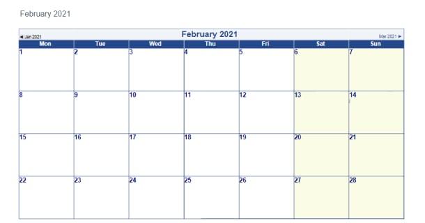 Blank Template February 2021 Calendar Word - 2021 Calendar