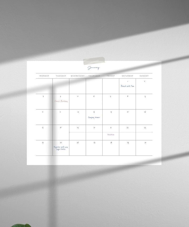 Blank Undated Calendar To Print | Ten Free Printable