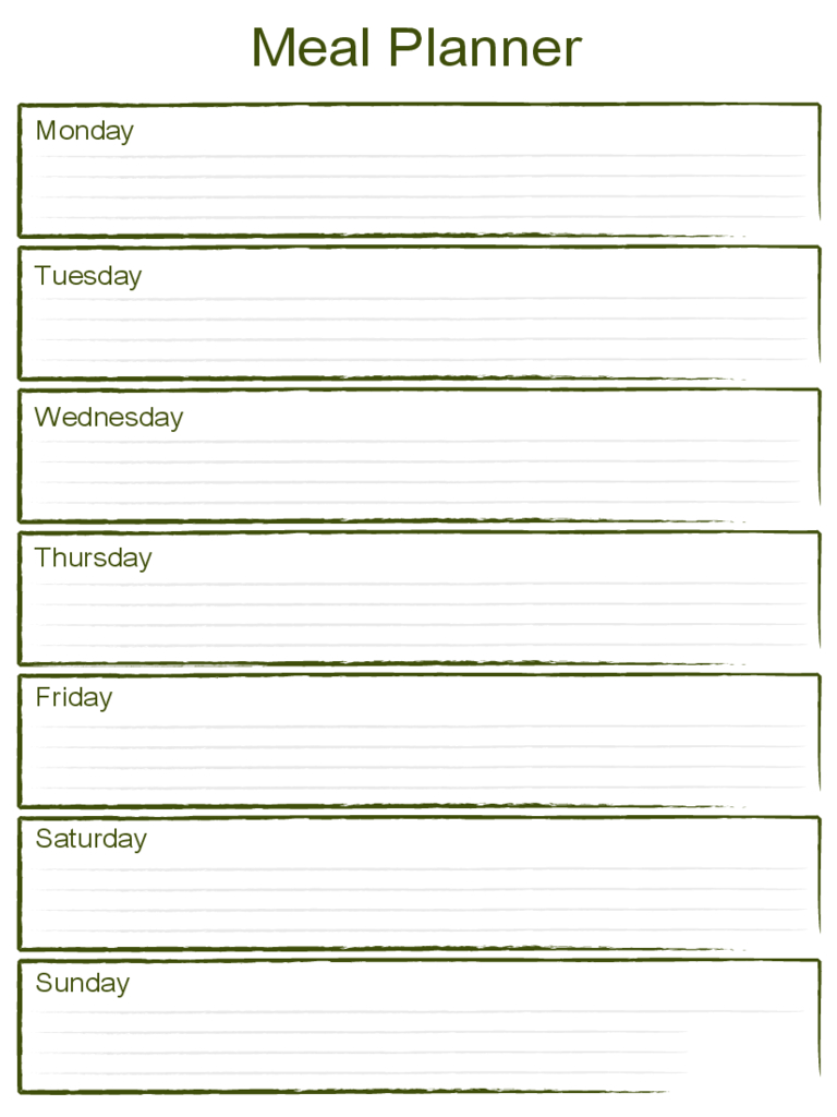 Blank Weekly Meal Planner Template - Edit, Fill, Sign