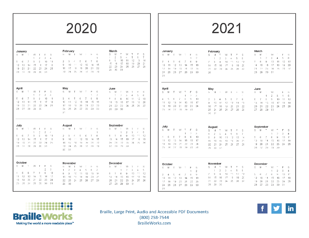 Braille Calendars - Attractive And Accessible - Braille Works