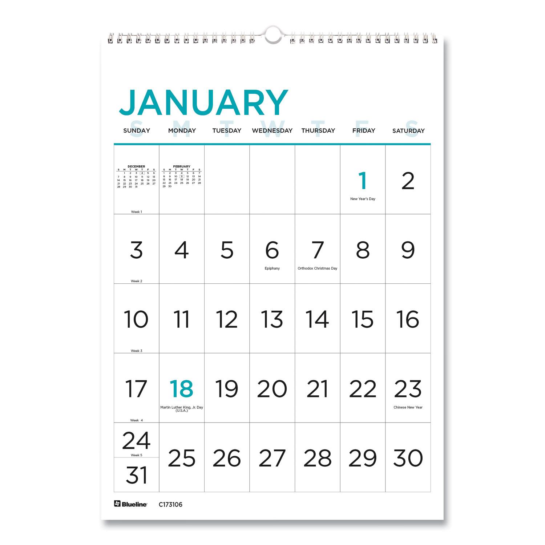 Buy 12-Month Large Print Wall Calendar, 12 X 17, White