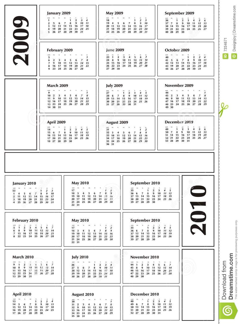 Calendar 2009 And 2010 Stock Image - Image: 7334671
