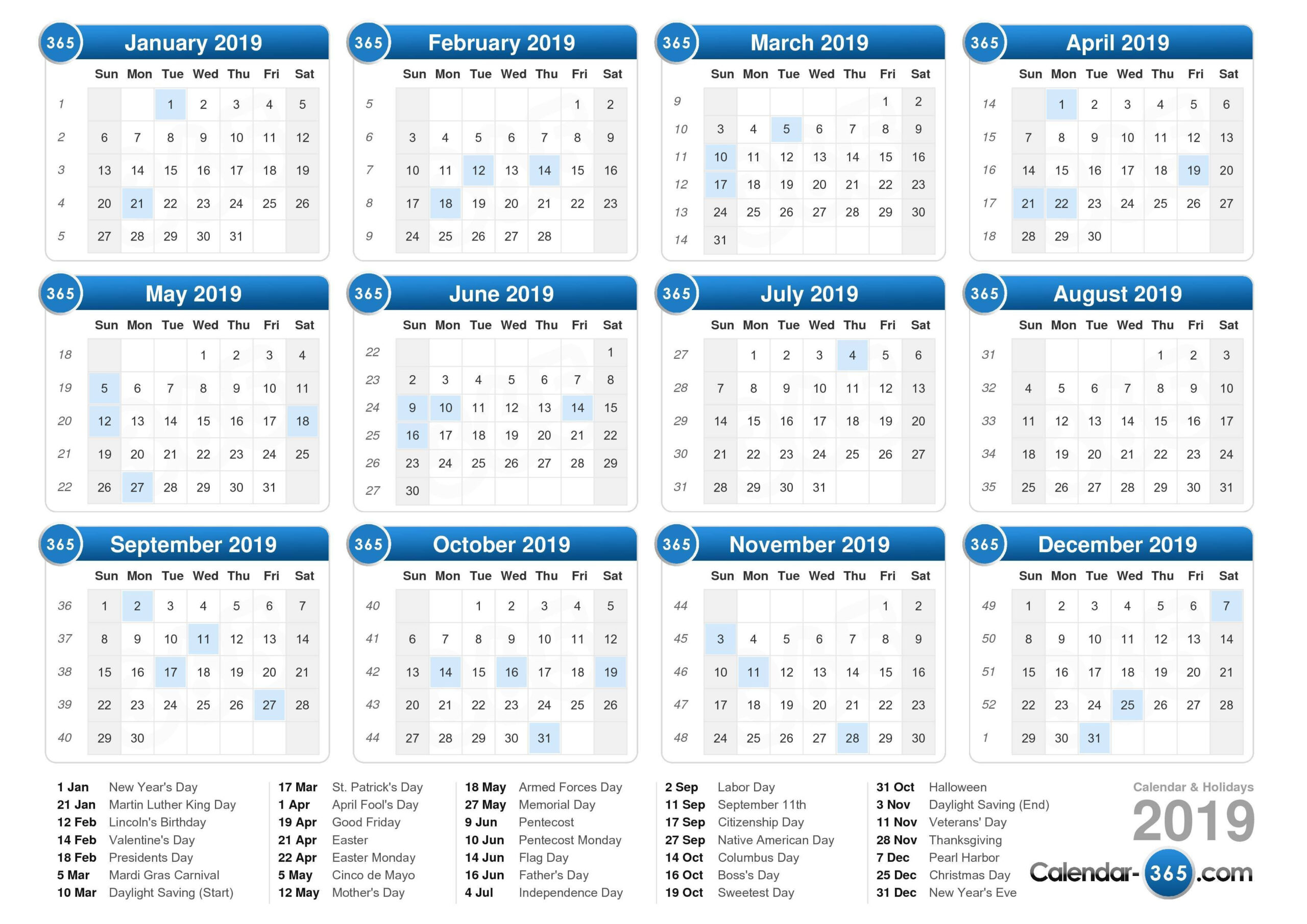 Calendar 2019 Special Days :-Free Calendar Template