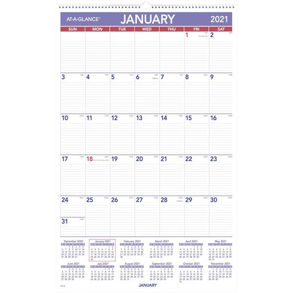 """Calendar 2021 At-A-Glance Monthly Wall 30"""" X 20"""" Ea"""