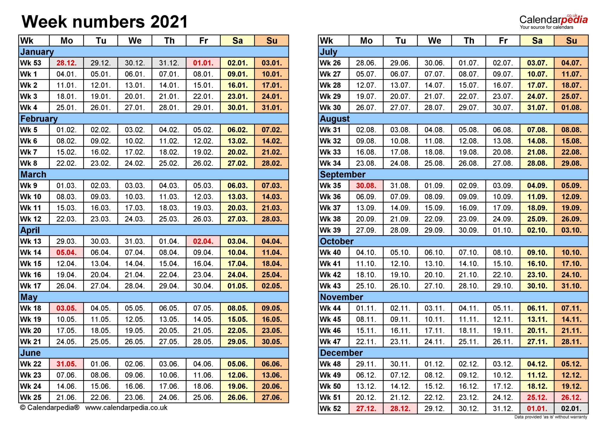 Calendar 2021 Excel With Week Numbers