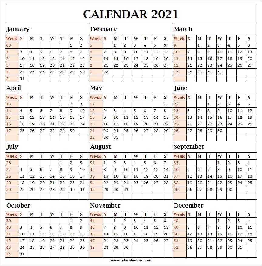 Calendar 2021 With Week Template - 2021 Calendar All Months