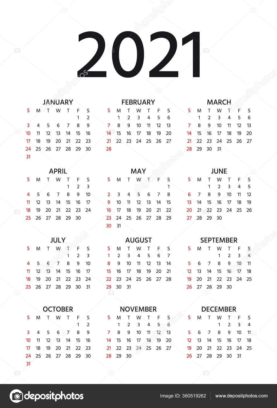 Calendar 2021 Year Vector Week Starts Sunday Pocket