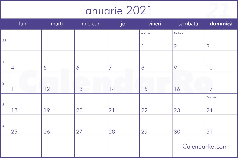 Calendar Ianuarie 2021