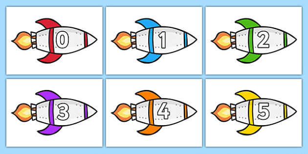 Calendar Numbers 0-31 On Rockets (Landscape) - Calendar