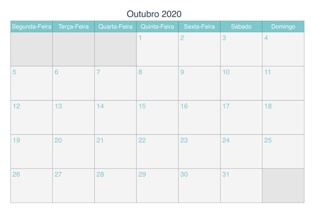 Calendário Outubro 2020 Para Imprimir   Stampabile
