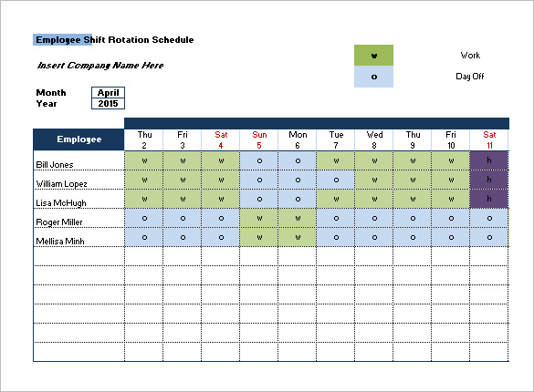 Call Rotation Schedule Template - Printable Schedule Template