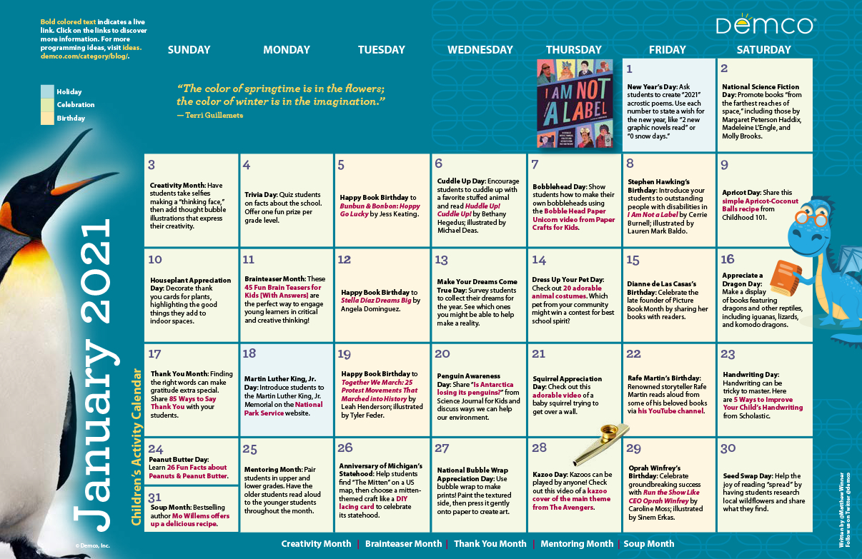 Children'S Programming Calendar: January 2021