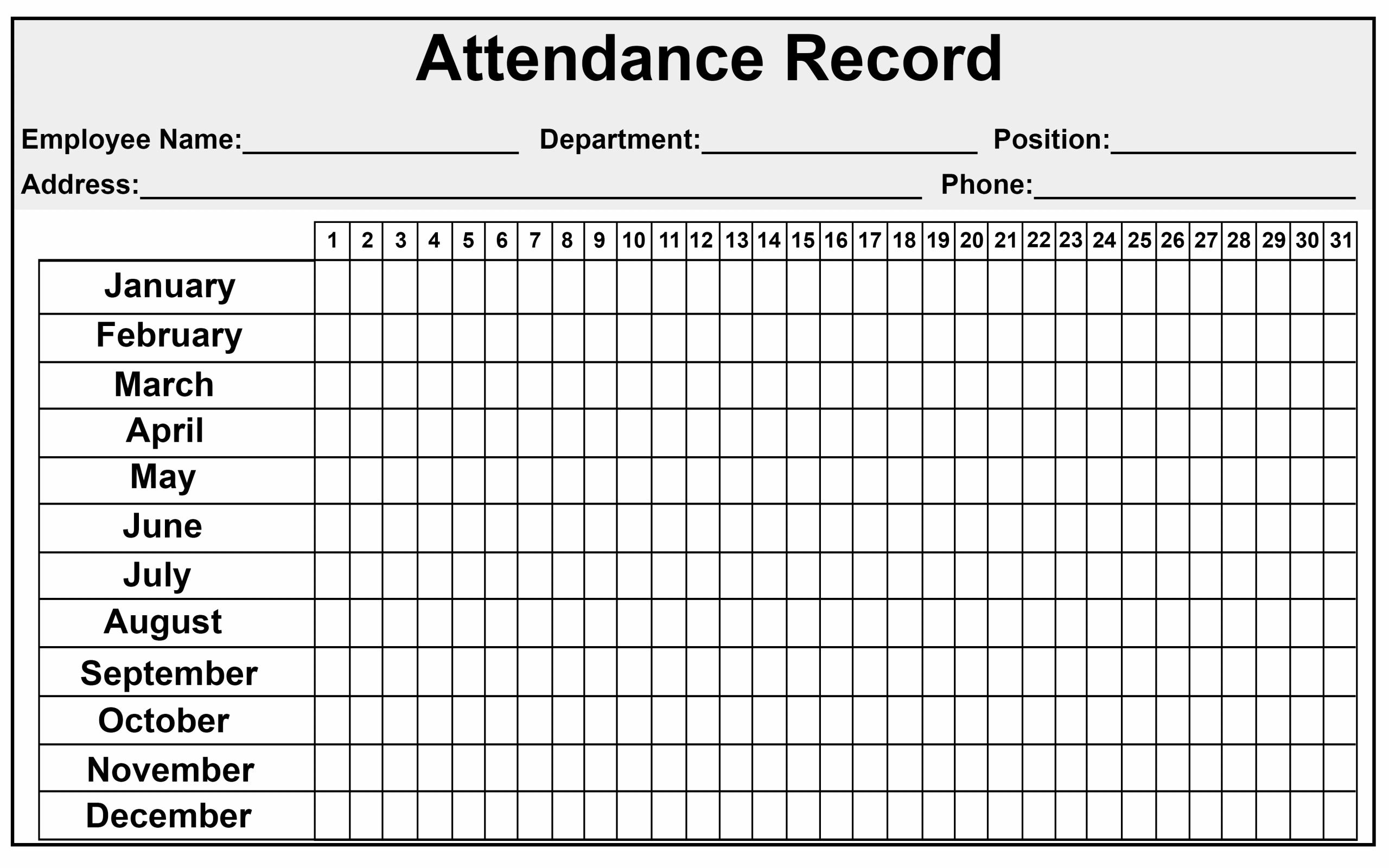 Collect 2020 Employee Attendance   Calendar Printables
