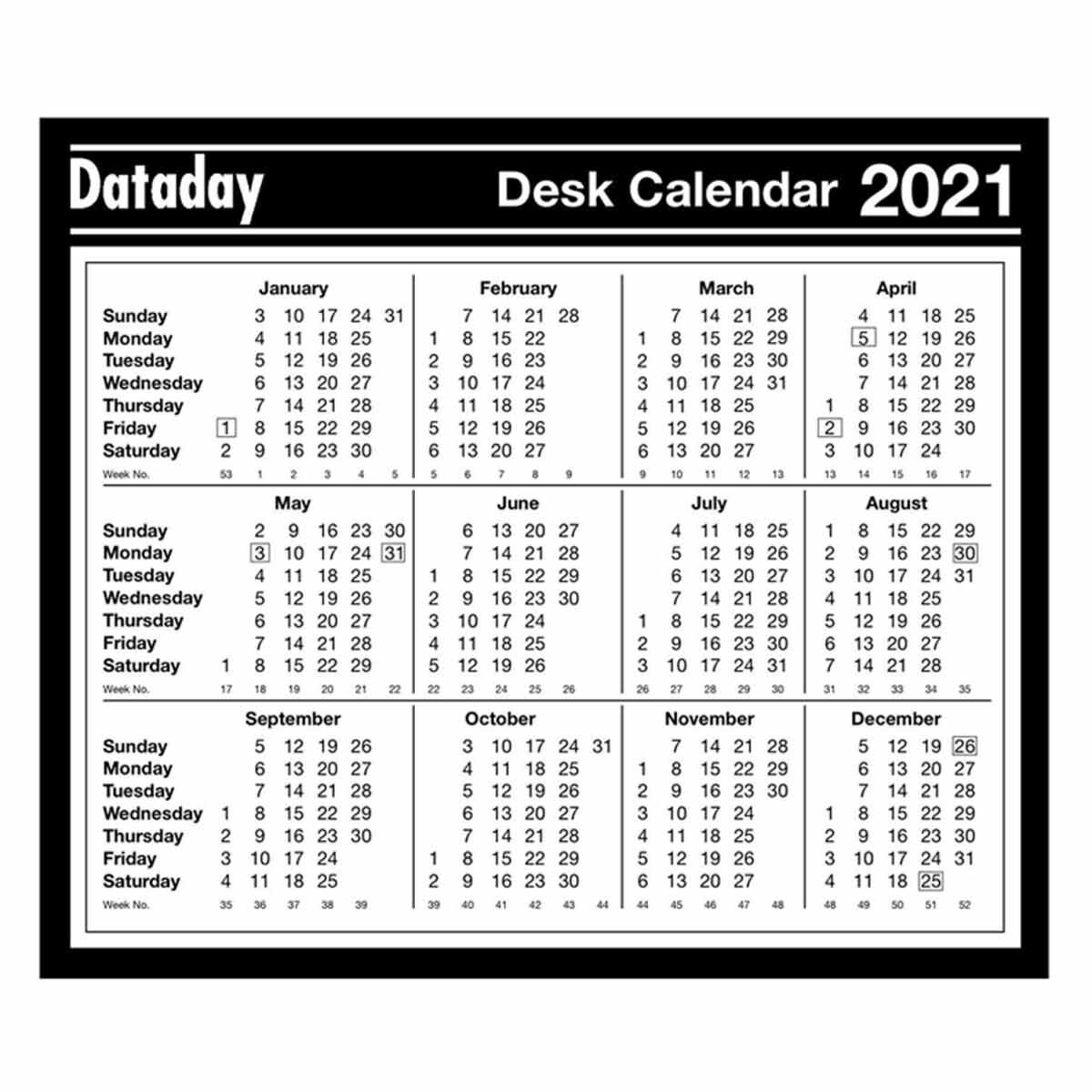 Dataday Year To View Calendar 2021