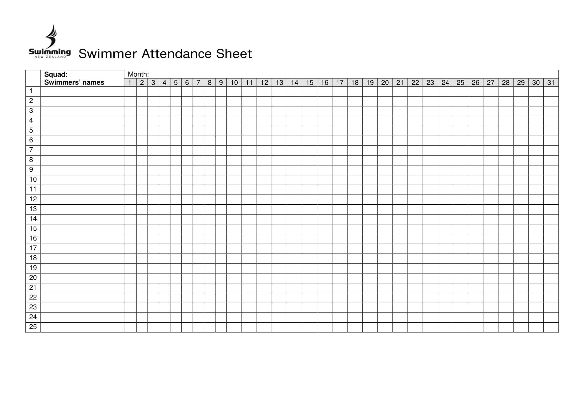 Day Care Attendance Sheet Template   Calendar Template