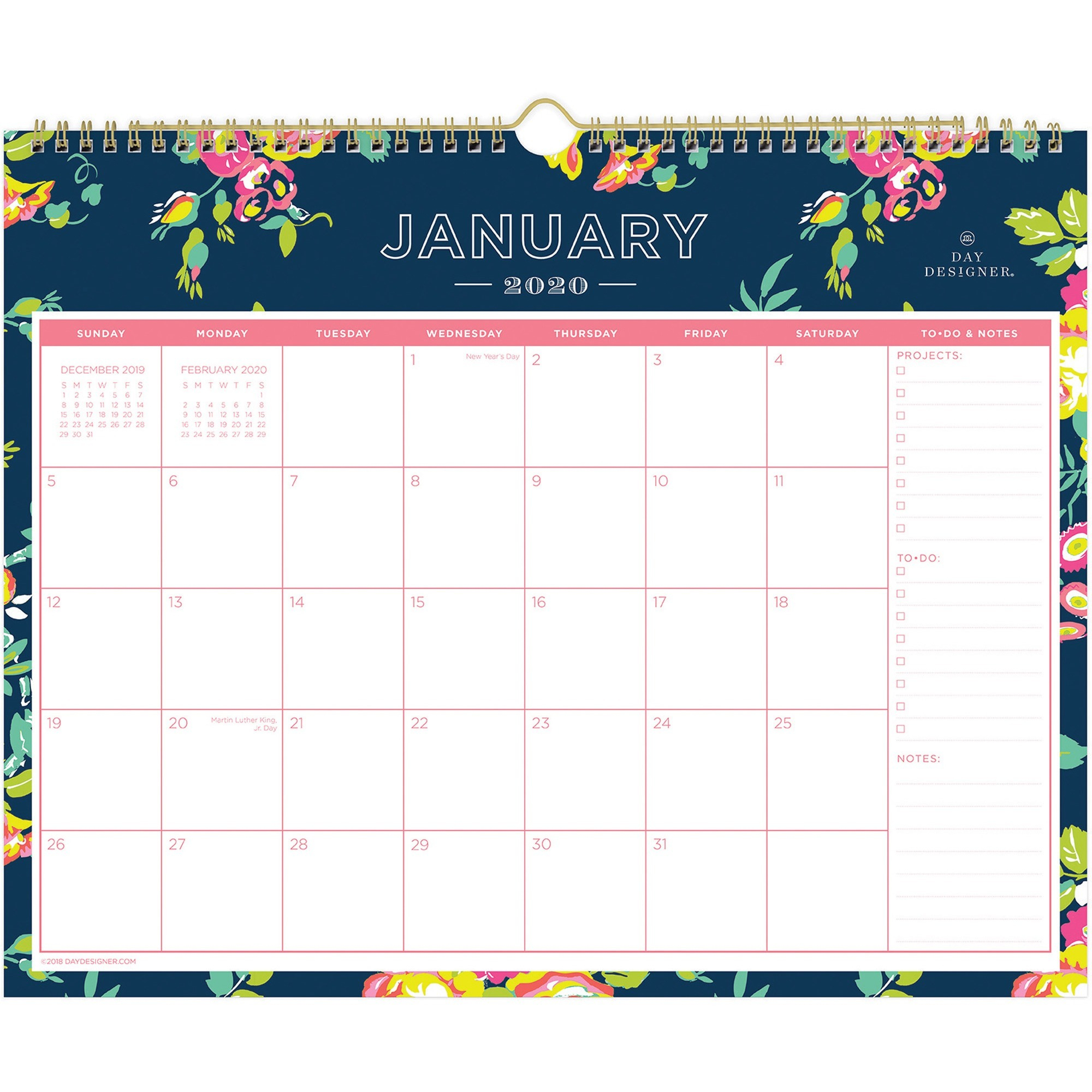 "Day Designer 2021 15"" X 12"" Wall Calendar, Peyton Navy"