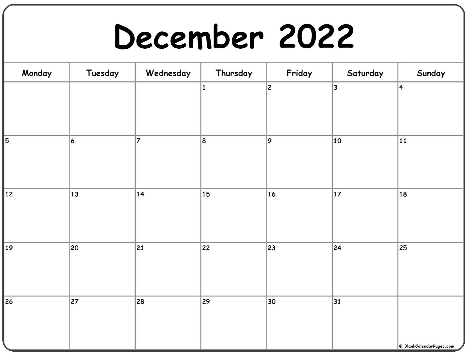 December 2022 Monday Calendar   Monday To Sunday
