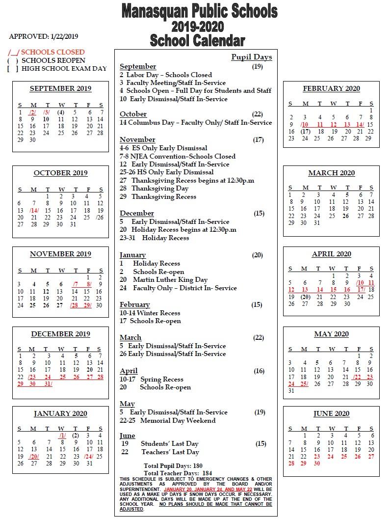 District Calendar / Next Year 2019-20