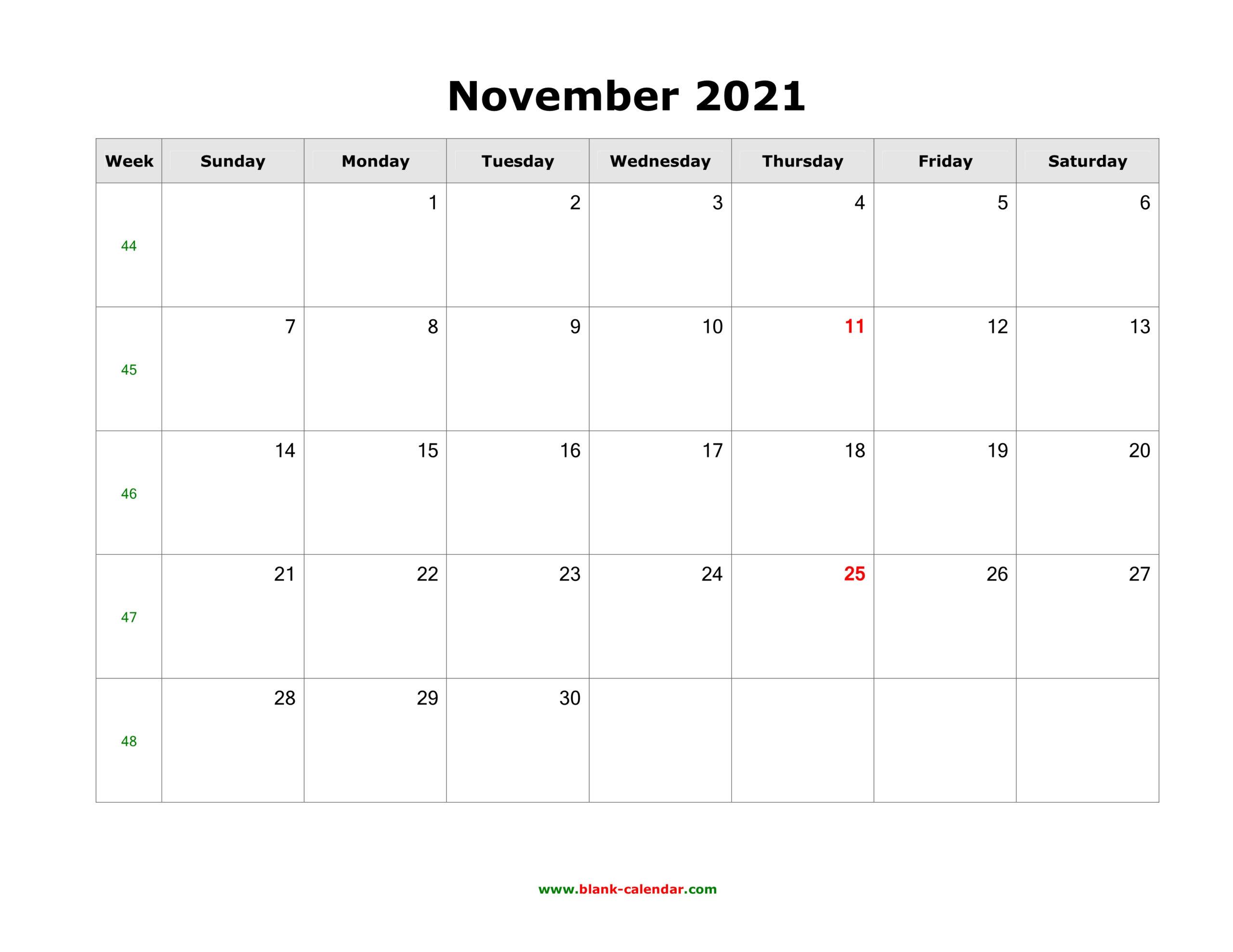 Download November 2021 Blank Calendar (Horizontal)