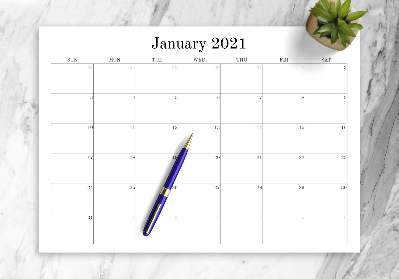 Download Printable Blank Monthly Calendar Pdf