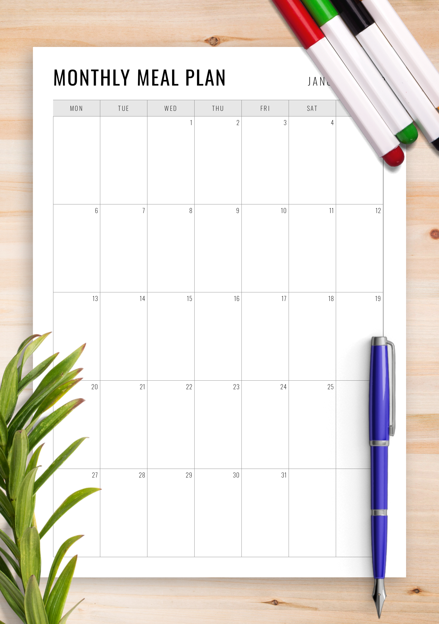 Download Printable Simple Monthly Meal Planner Pdf