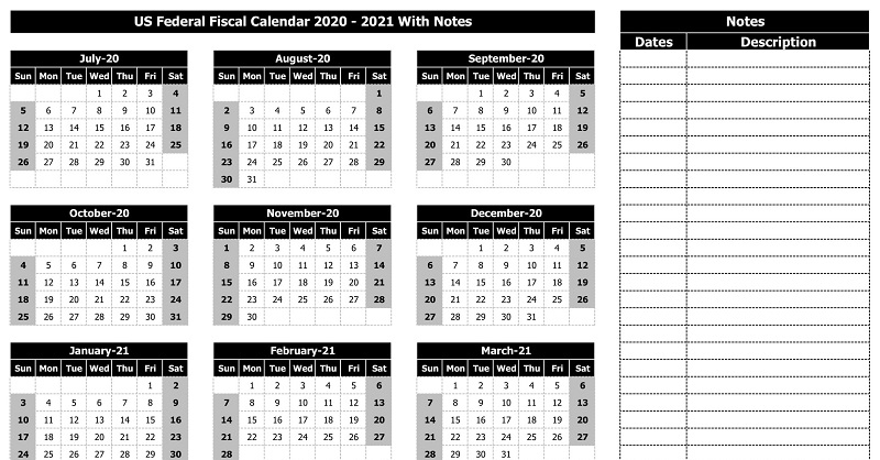 Download Us Federal Fiscal Calendar 2020-21 With Notes