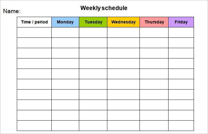 Employee Monday To Sunday Schedule :-Free Calendar Template