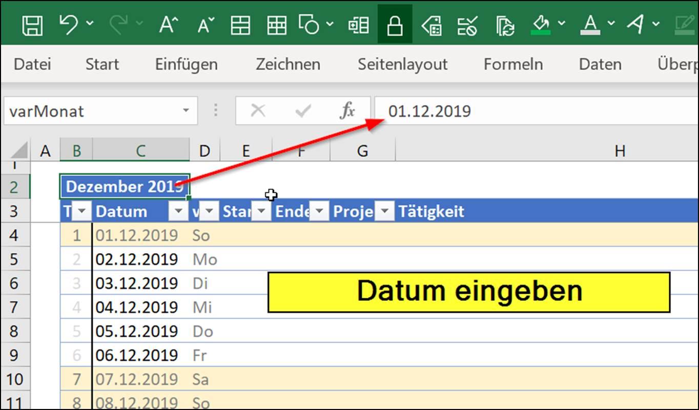 Excel: Timesheet Calendar As Download Template @ Codedocu
