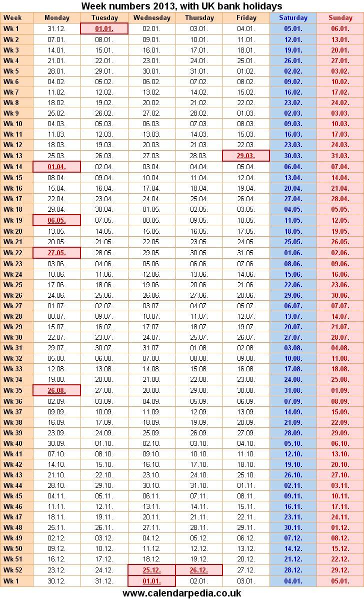 Excel Week Number Format | Week Numbers 2013 (With Images