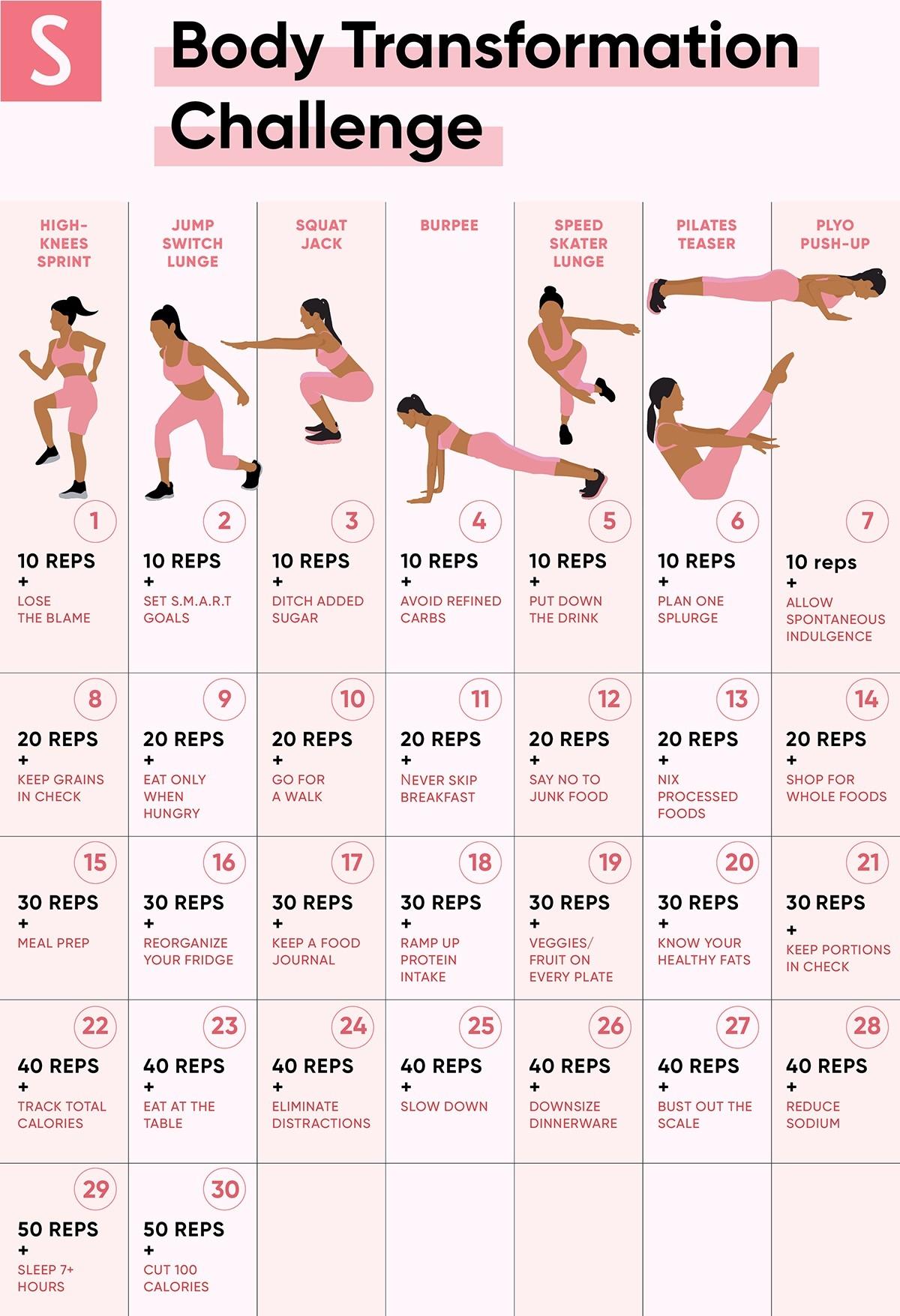 Exercise Challenge Chart - Template Calendar Design