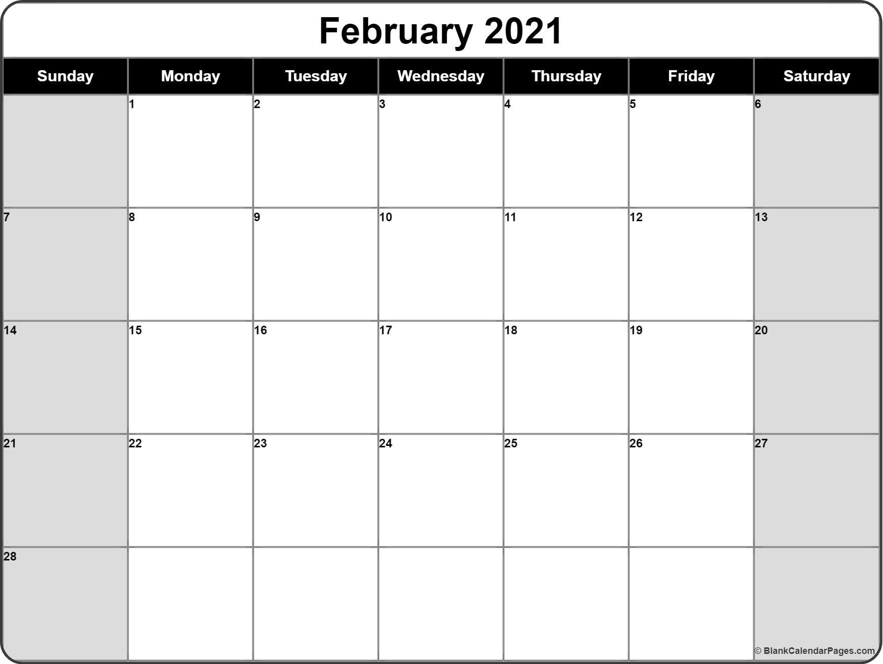 February 2021 Calendar | Free Printable Calendar Templates