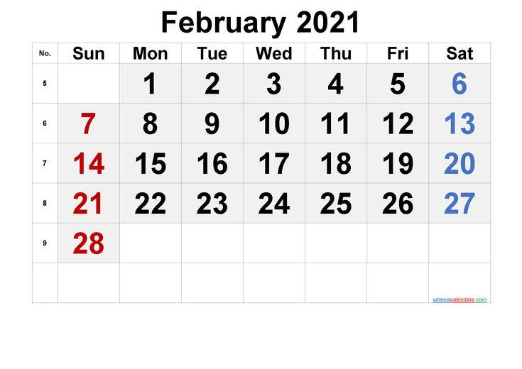 February 2021 Printable Calendar [Free Premium] In 2020 | March Free Printable Calendar