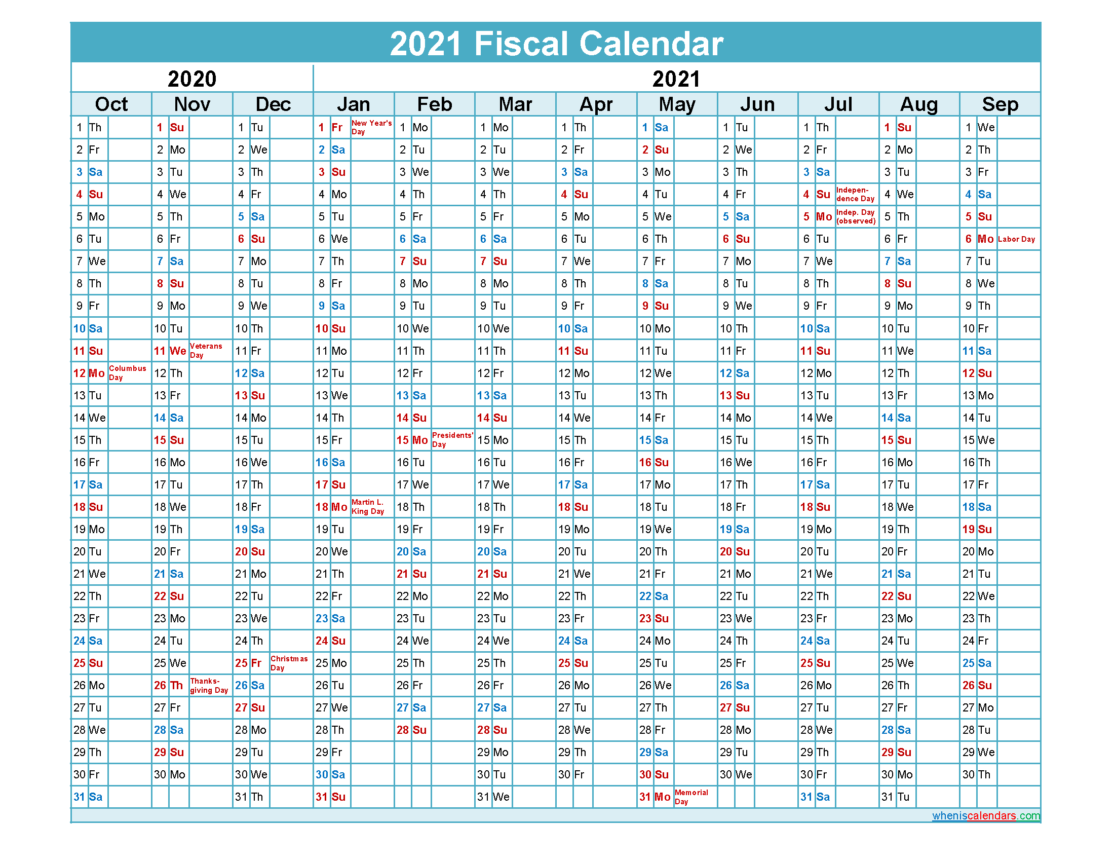 Federal Government Fiscal Year 2021 Calendar
