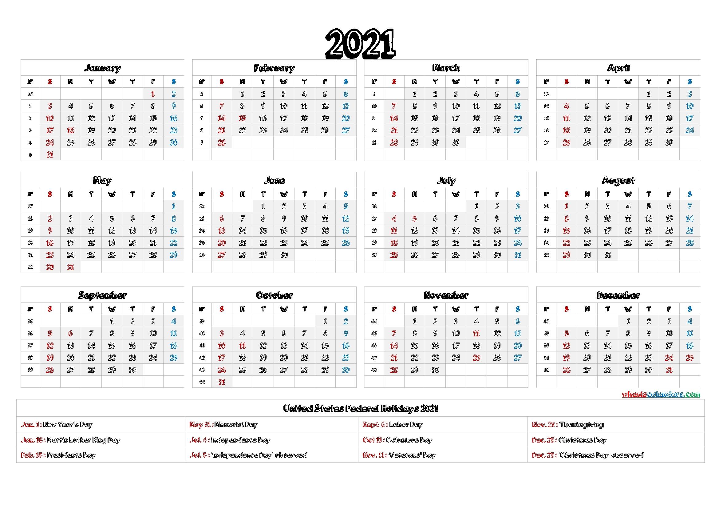 Fill In Calendar 2021 | Calendar Template Printable