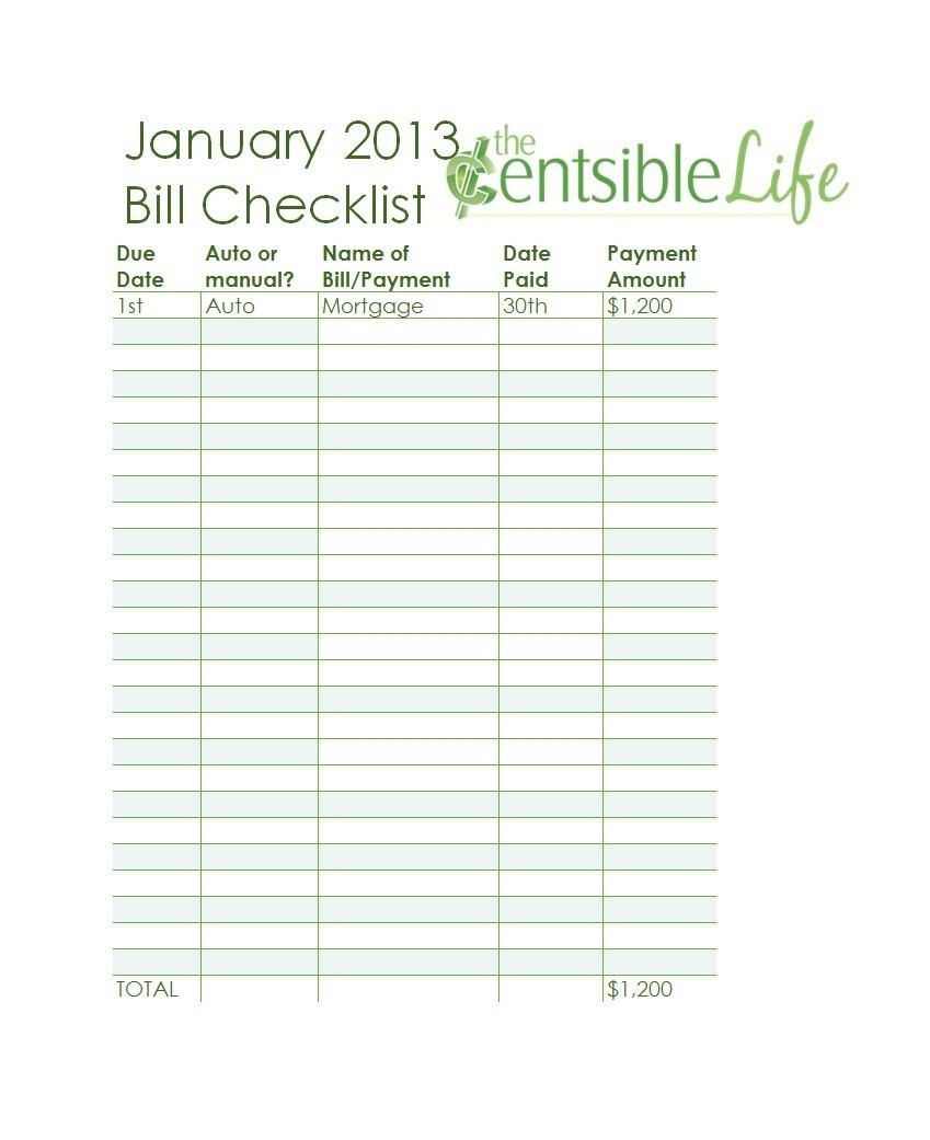 Fillable Monthly Bill Payment Worksheet Pdf - Template Calendar Design