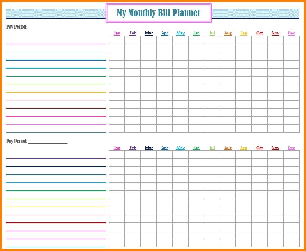 Fillable Monthly Bill Payment Worksheet - Template Calendar Design