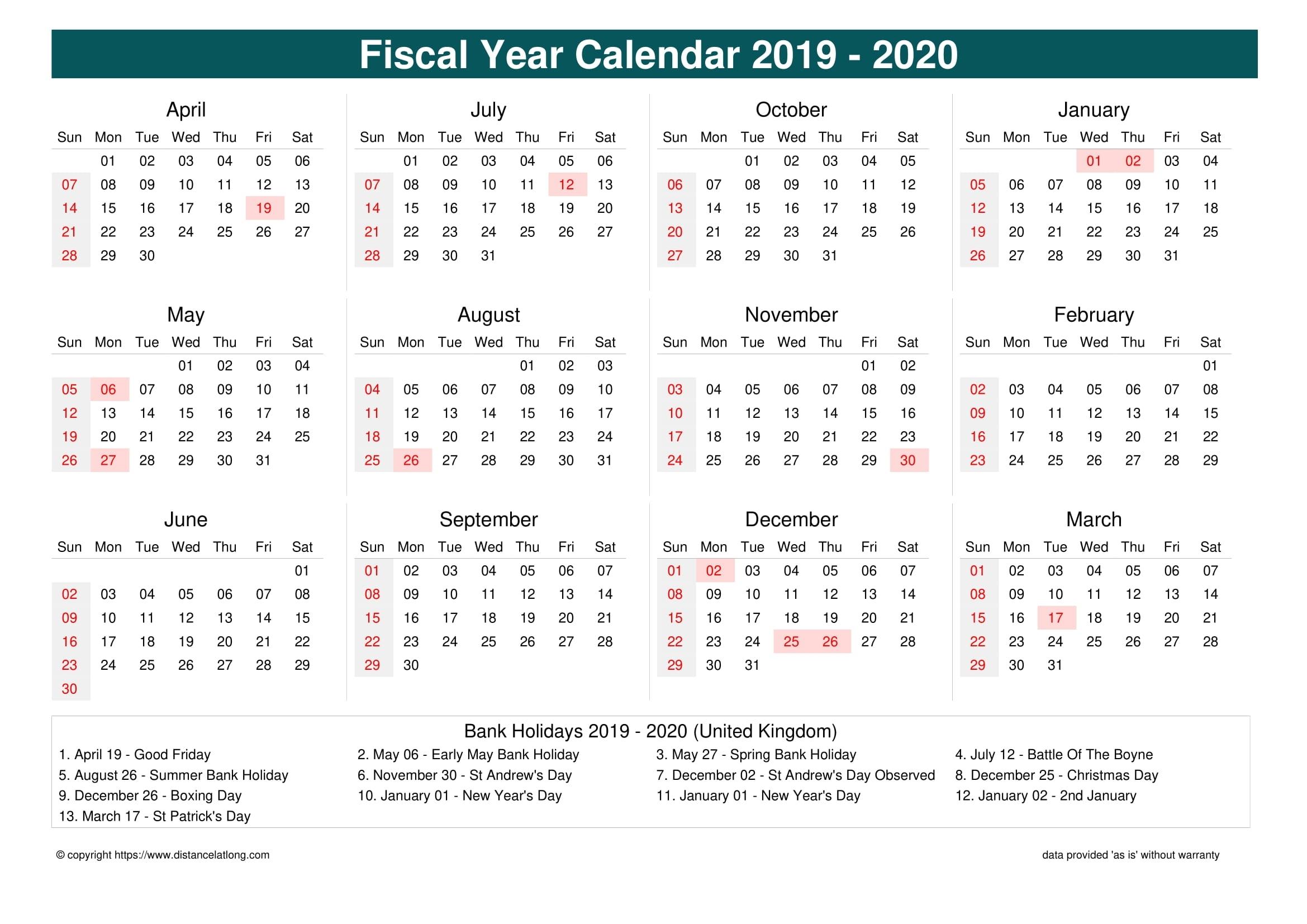Financial Calendar 2019 With Week Number - Calendar