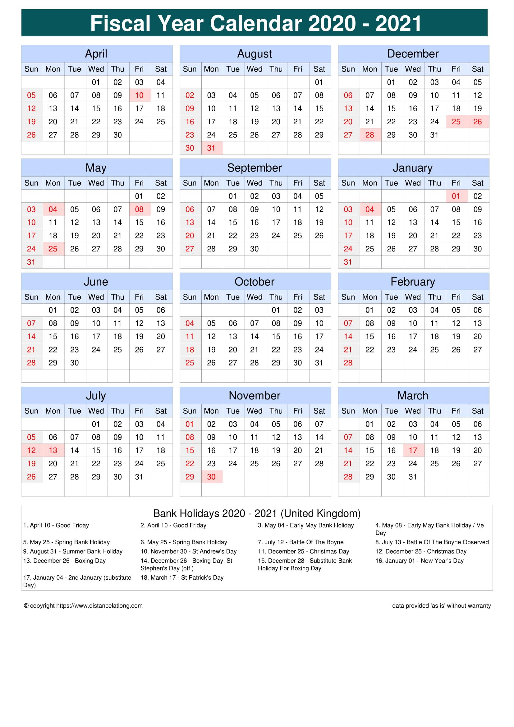 Fiscal Portrait Calendar Vertical Grid Sunday To Saturday