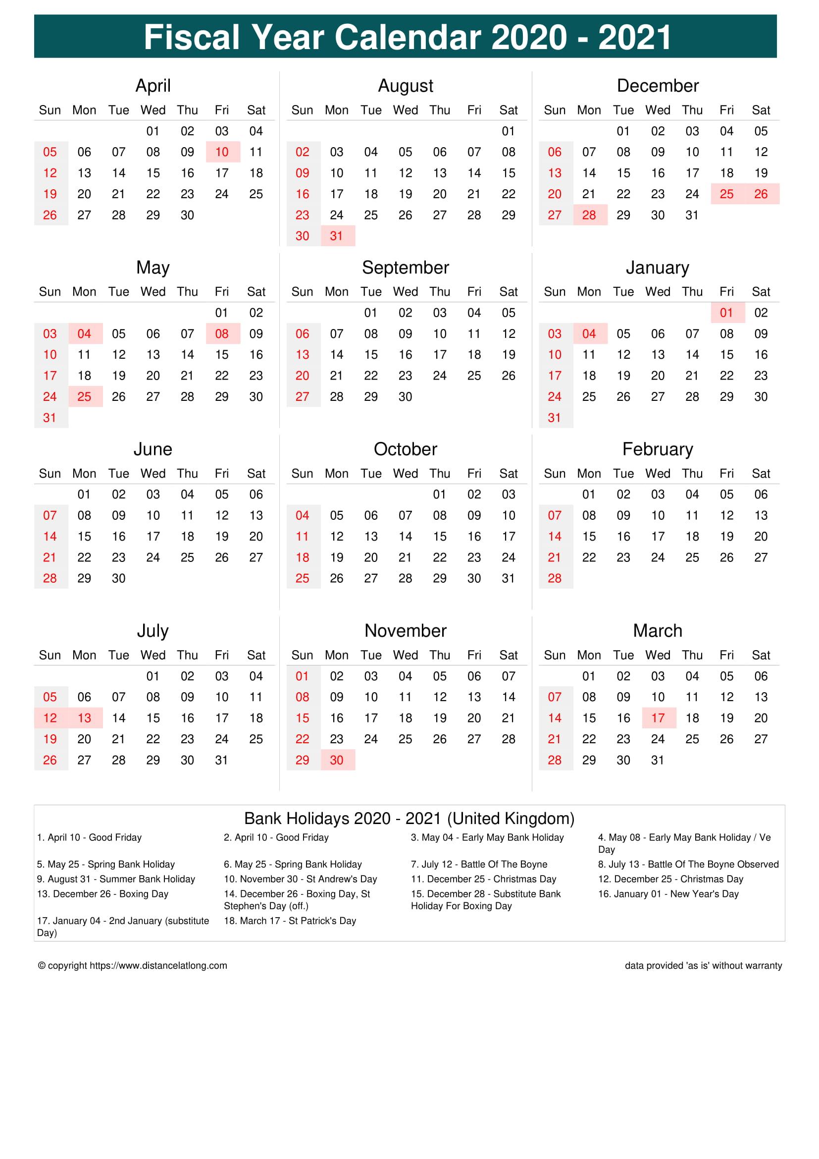 Fiscal Portrait Calendar Vertical Week Underline With
