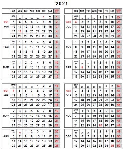 Fiscal Weeks Calendar 2021 - Calendar Weeks
