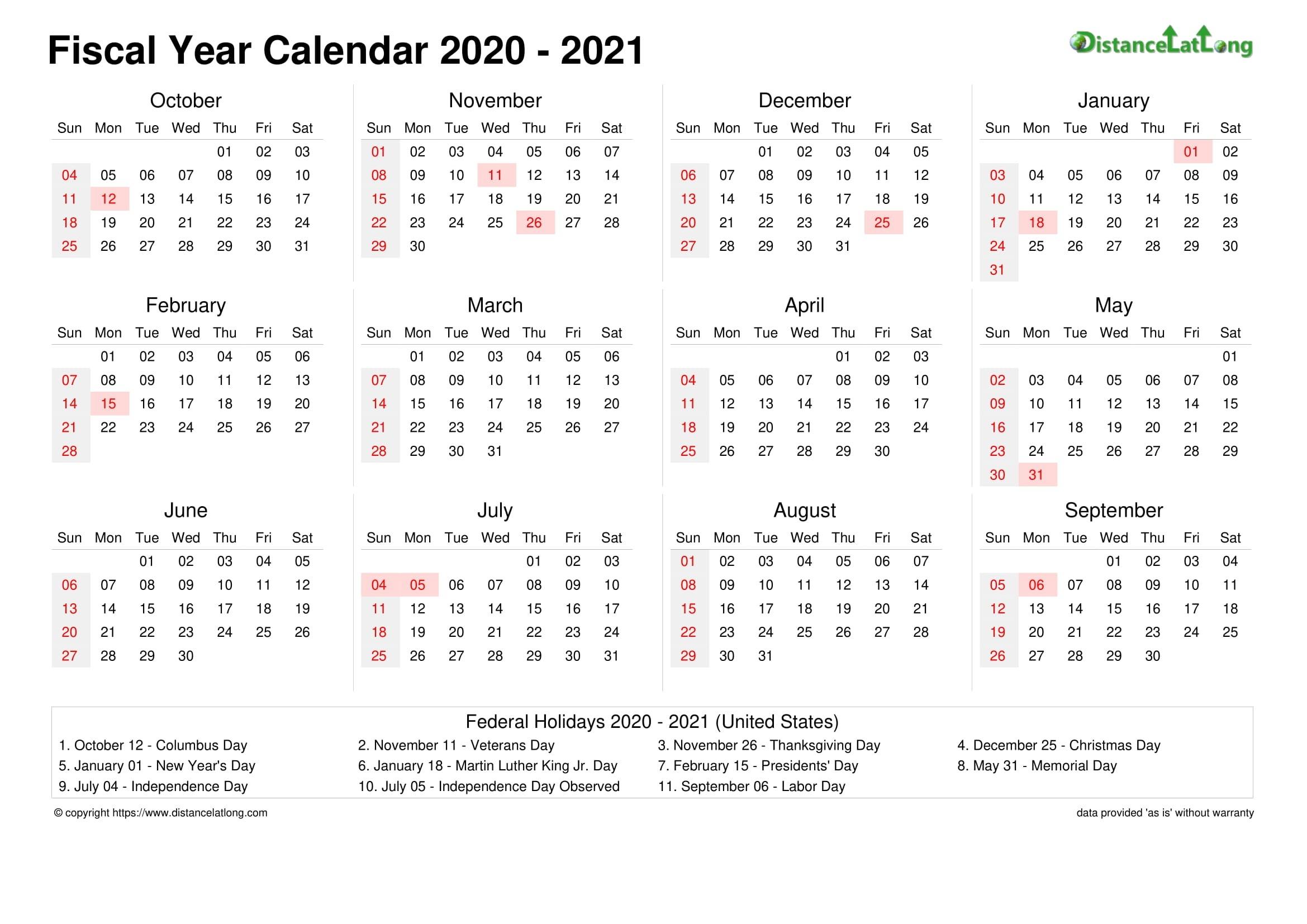 Fiscal Year 2021 Australia Calendar - Template Calendar Design