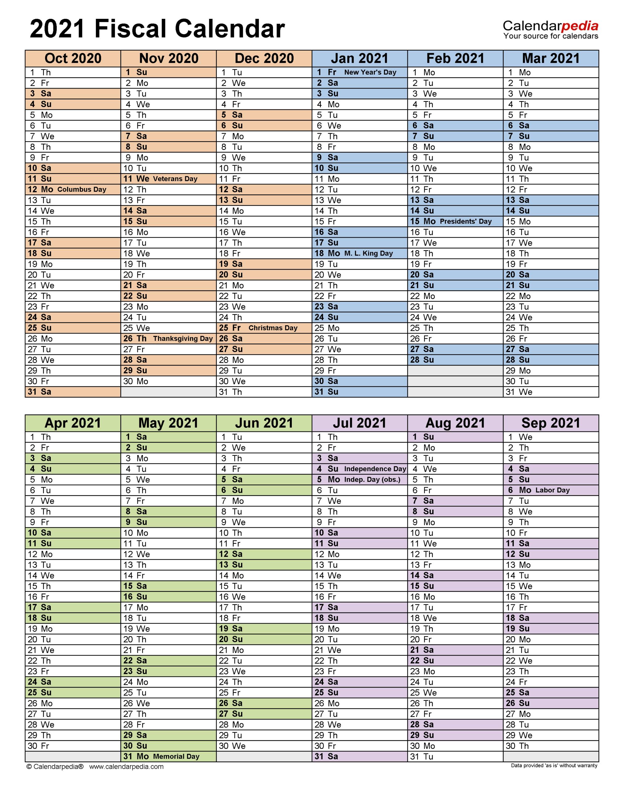 Fiscal Year 2021 Printable Calendar