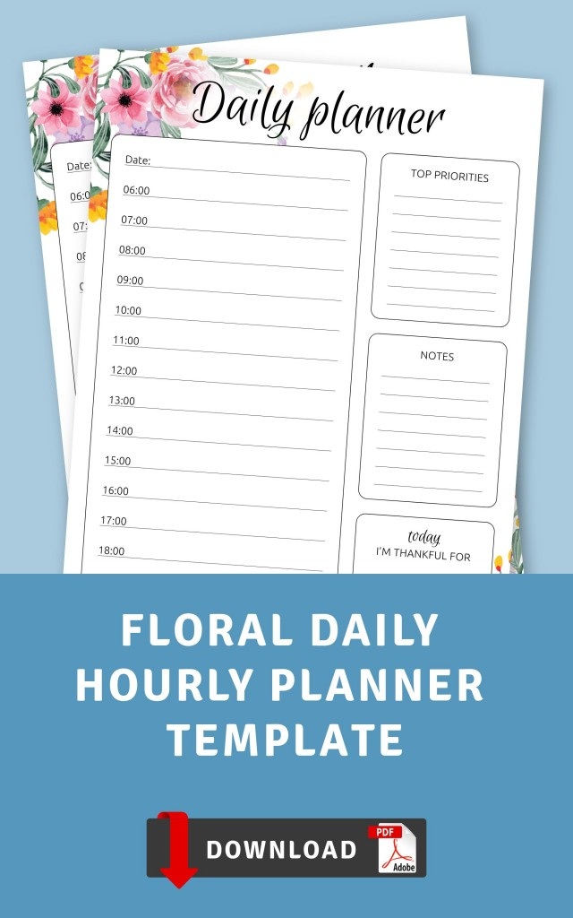Floral Daily Hourly Planner Template - Printable Pdf