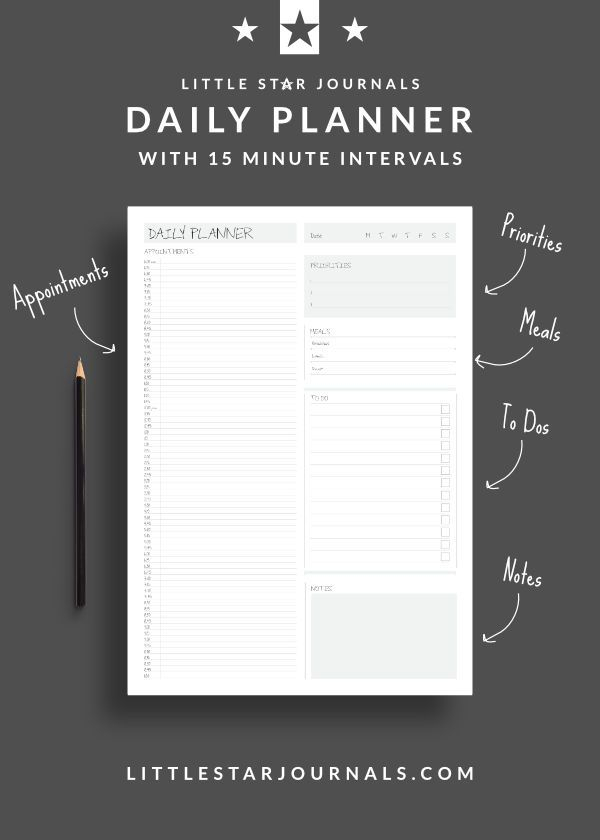 Free 15 Minute Daily Planner Printable - Little Star