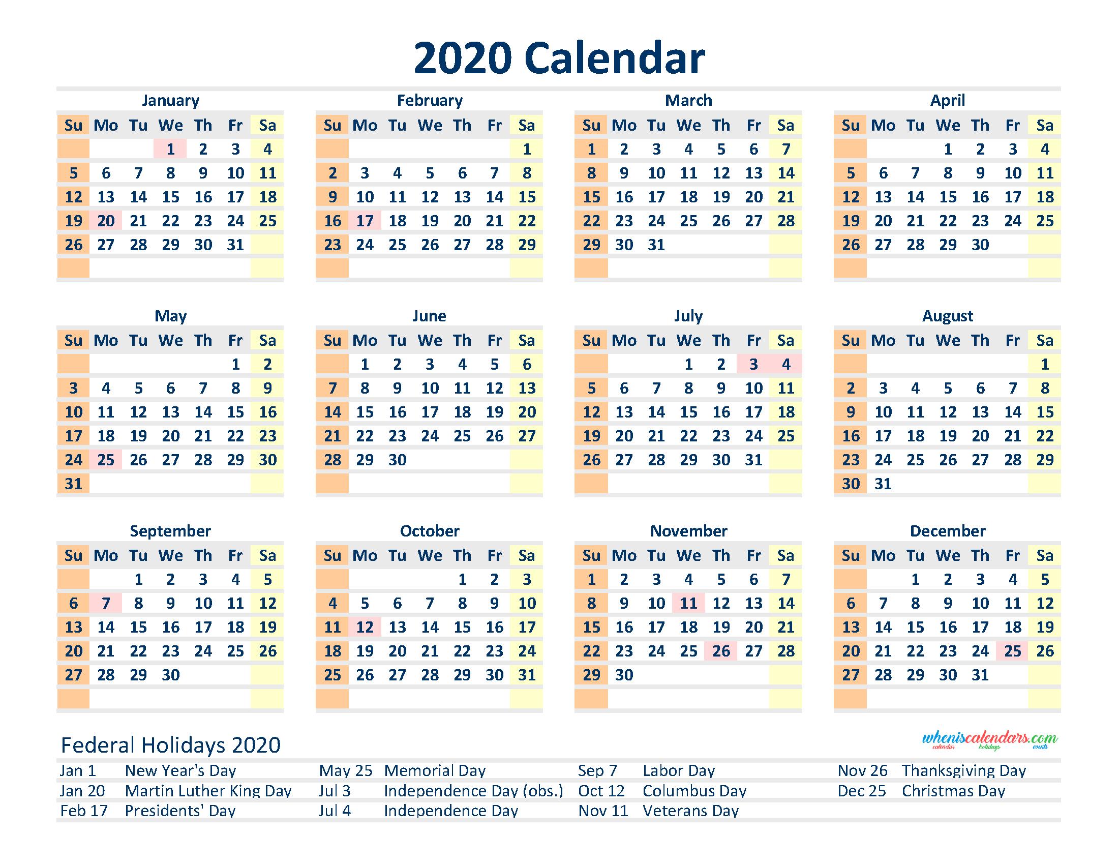 Free 2020 12 Month Calendar Printable Pdf, Excel, Image